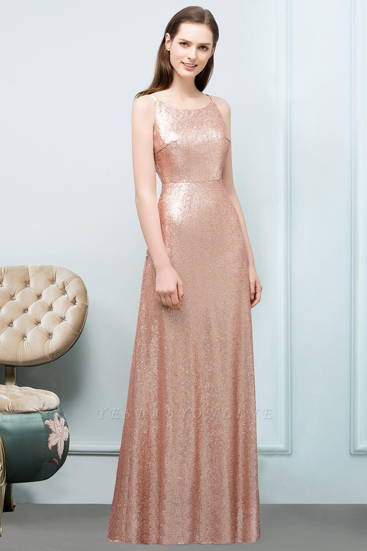 A Line Sequined Scoop Sleeveless Floor Length Bridesmaid Dresses Brown Bridesmaid Dresses Long Sleeve Bridesmaid Dress Casual Bridesmaid Dresses