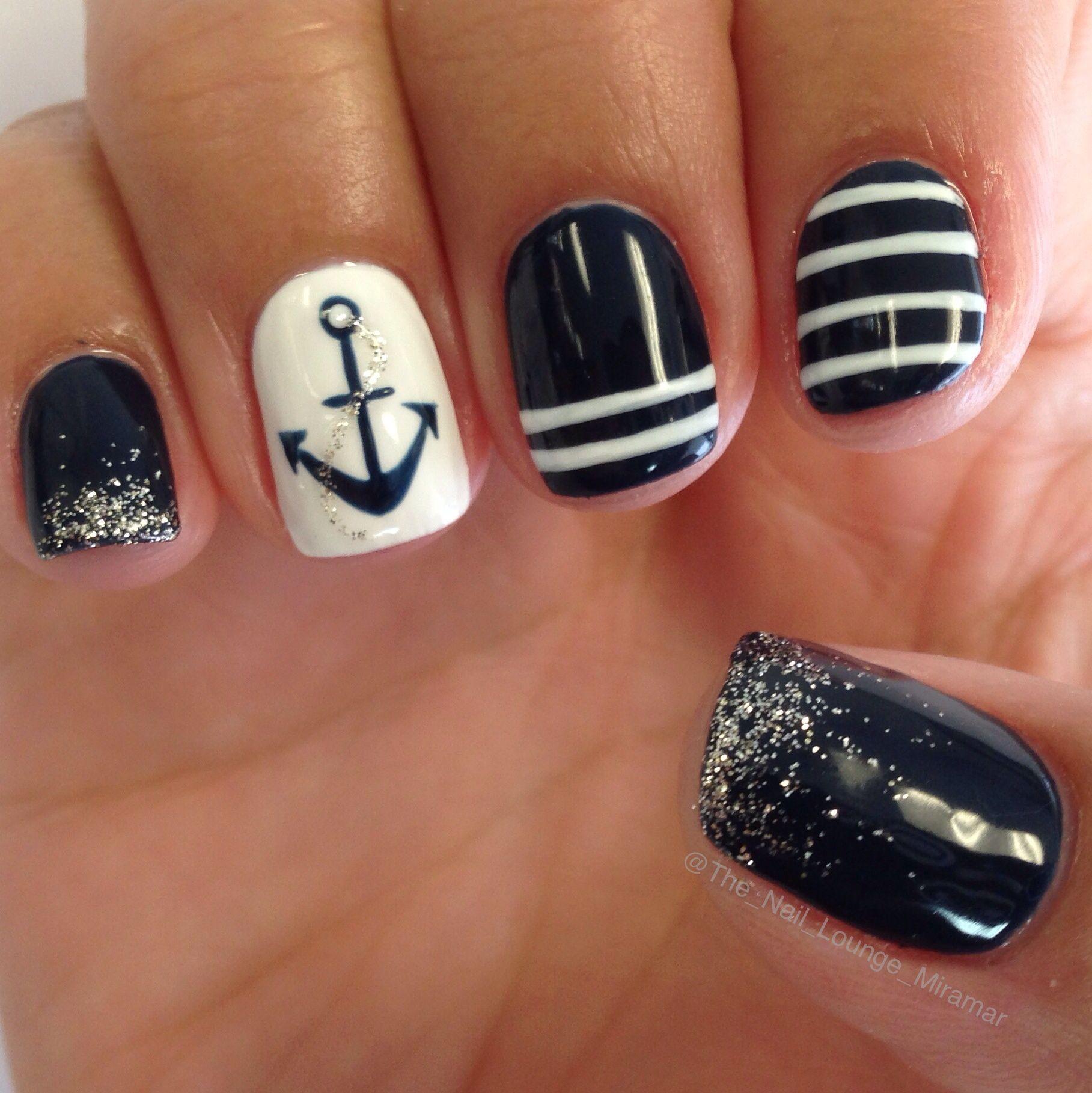 Sailor Anchor Gel Nail Art Design Nail Art Pinterest Nail Art