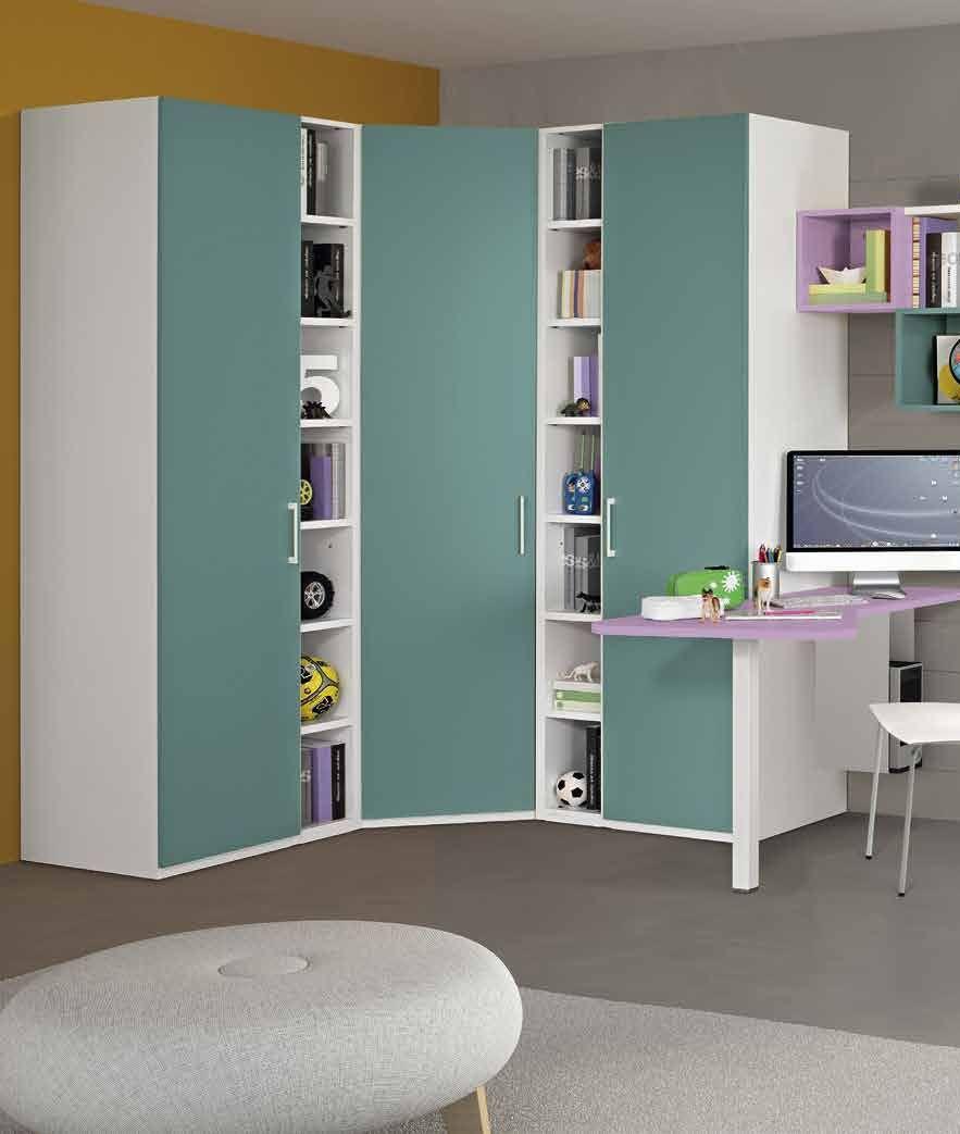 Armadio ad angolo colorato con cabina e libreria per cameretta ...