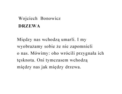 Wojciech Bonowicz Drzewa Wiersze Poezja Polska