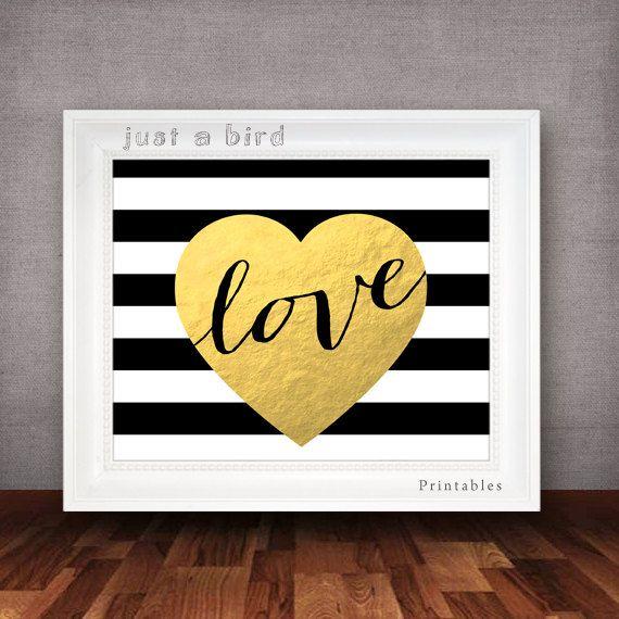 Valentines printable, Valentines day decor, Black & white stripes ...