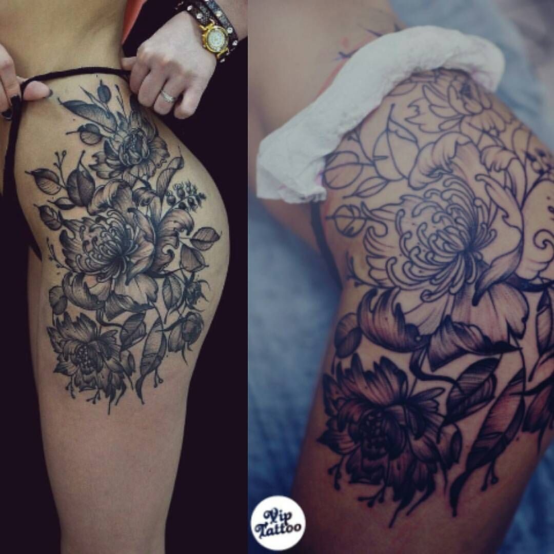 Flower Thigh Tattoos: Pin By Dannielle Caddy On TATTOOS