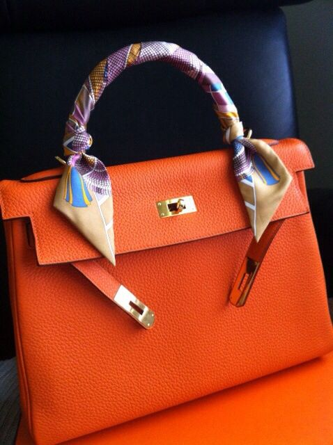 9818370ac18d Orange Hermes Kelly with Twilly