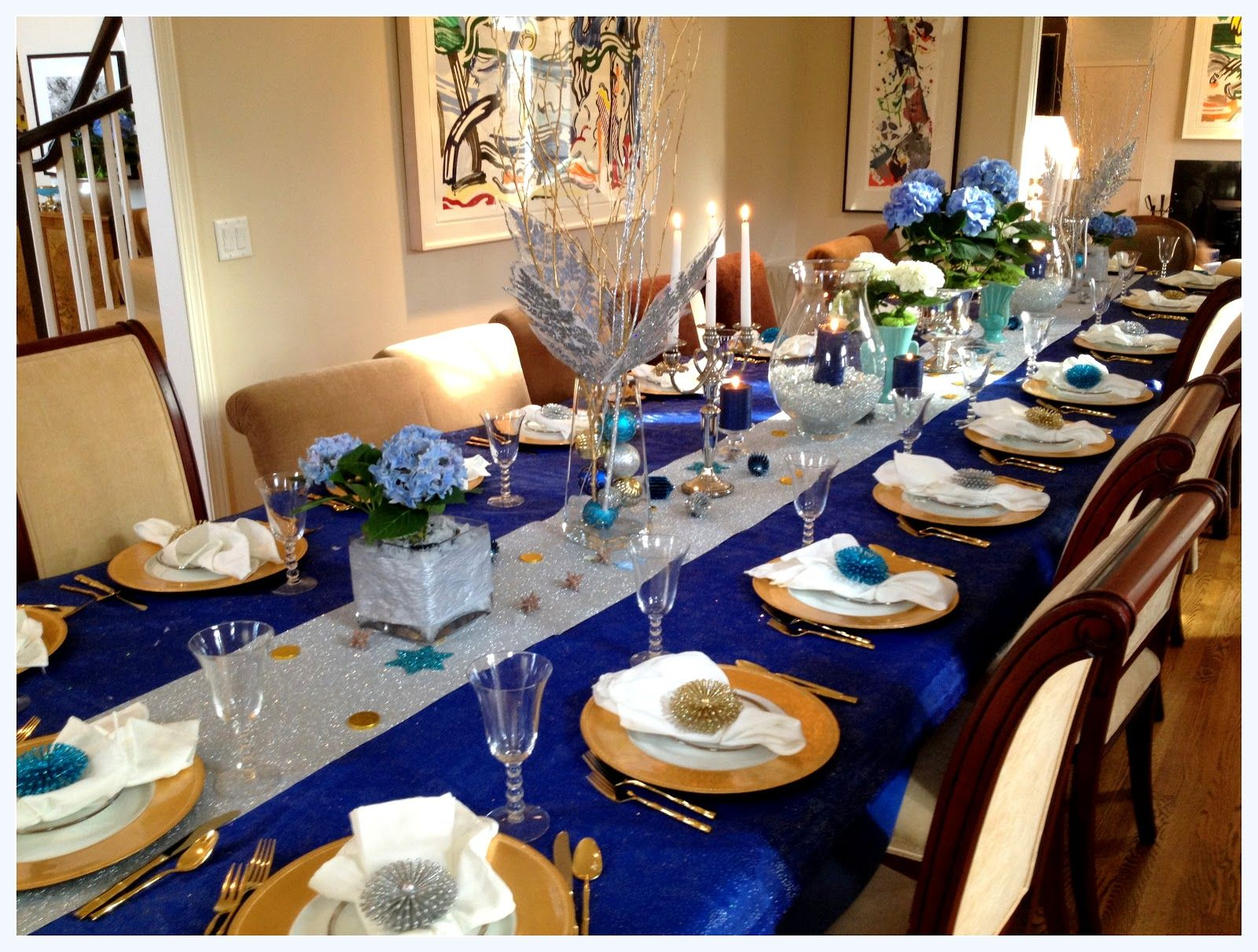 Blue and silver decorating gold party