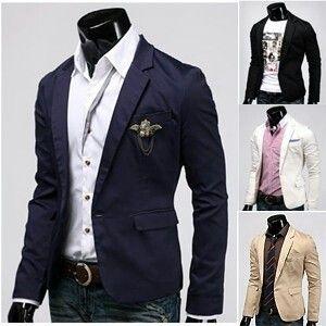 Miesten kiinteät yksinkertainen takki rento bleiseri