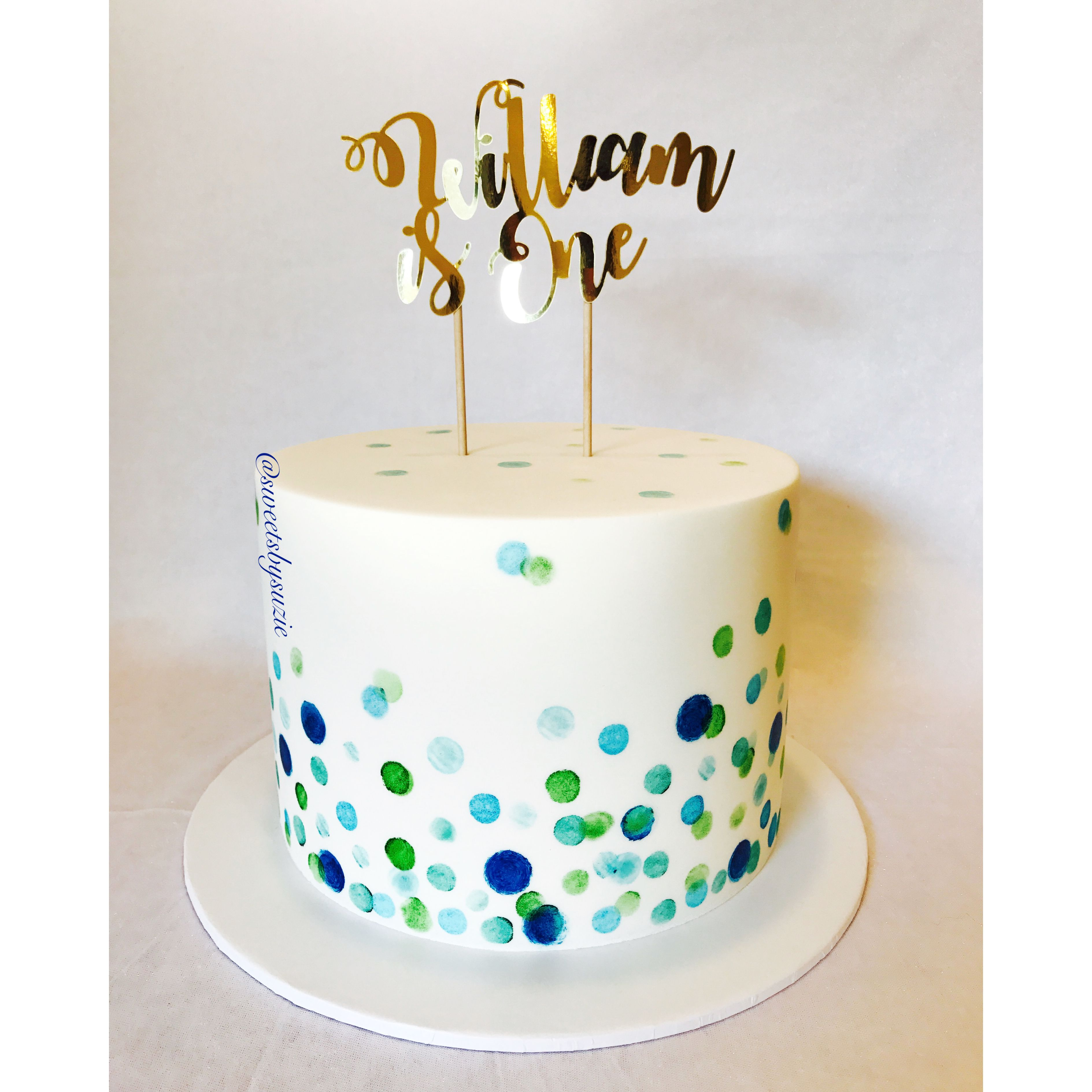 Watercolor confetti 1st Birthday Cake made by SweetsBySuzie in