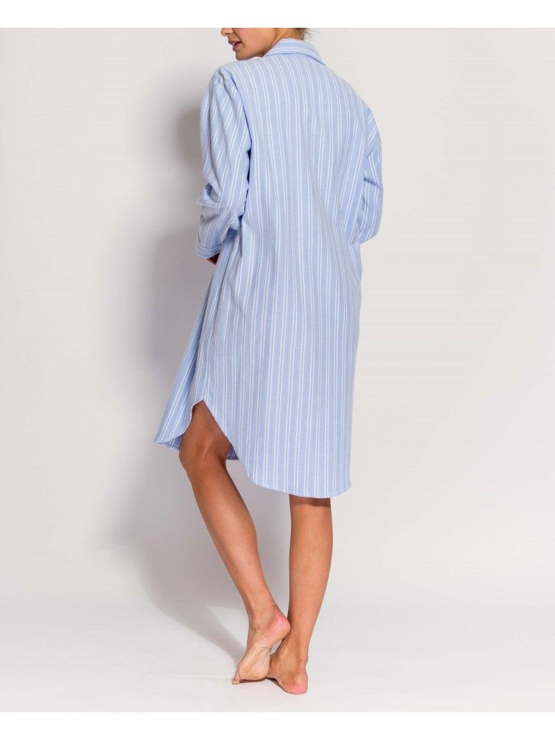 Women\'s Westwood Blue Stripe Two-Fold Flannel Nightshirt | night ...