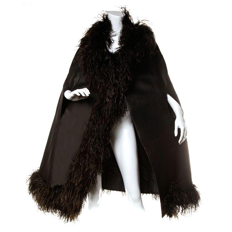 Elizabeth Arden Vintage 1960's Silk Ostrich Feather Cape Coat | 1stdibs.com