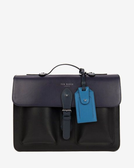 c9d57e903168 Colour block leather satchel bag - Mid Blue