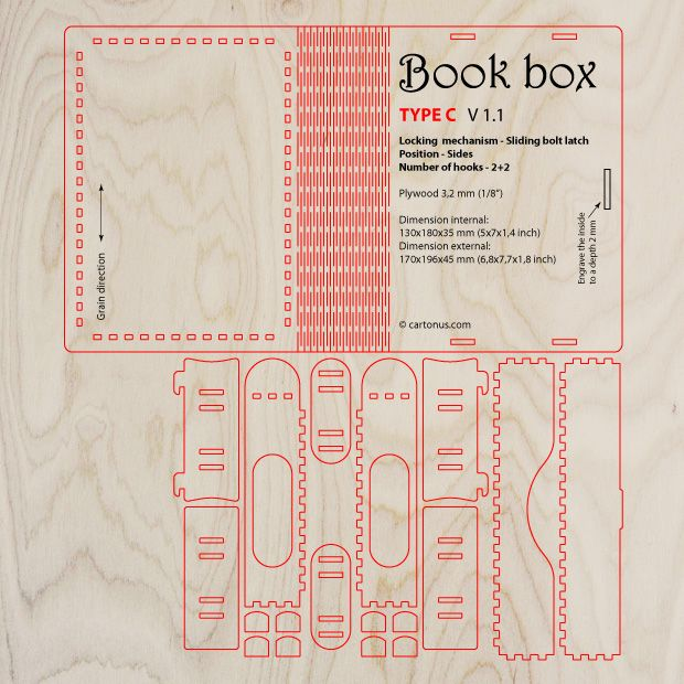 Wooden BOOK-BOX with sliding bolt latch Vector model \/ project - project plan