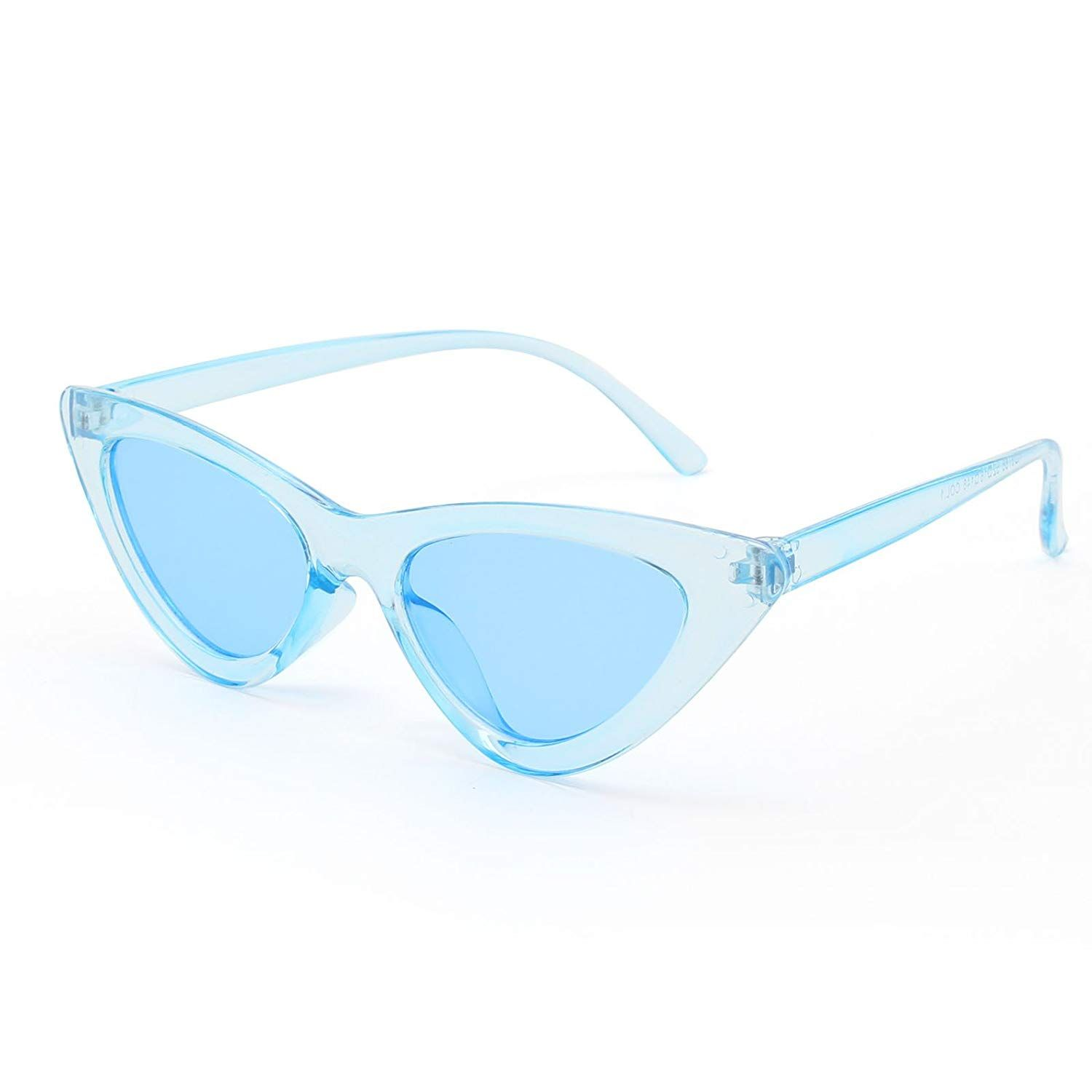 59ccecbad09eb Amazon.com  Livhò Retro Vintage Narrow Cat Eye Sunglasses for Women Clout  Goggles Plastic Frame (Blue Blue Silver For kids)  Clothing