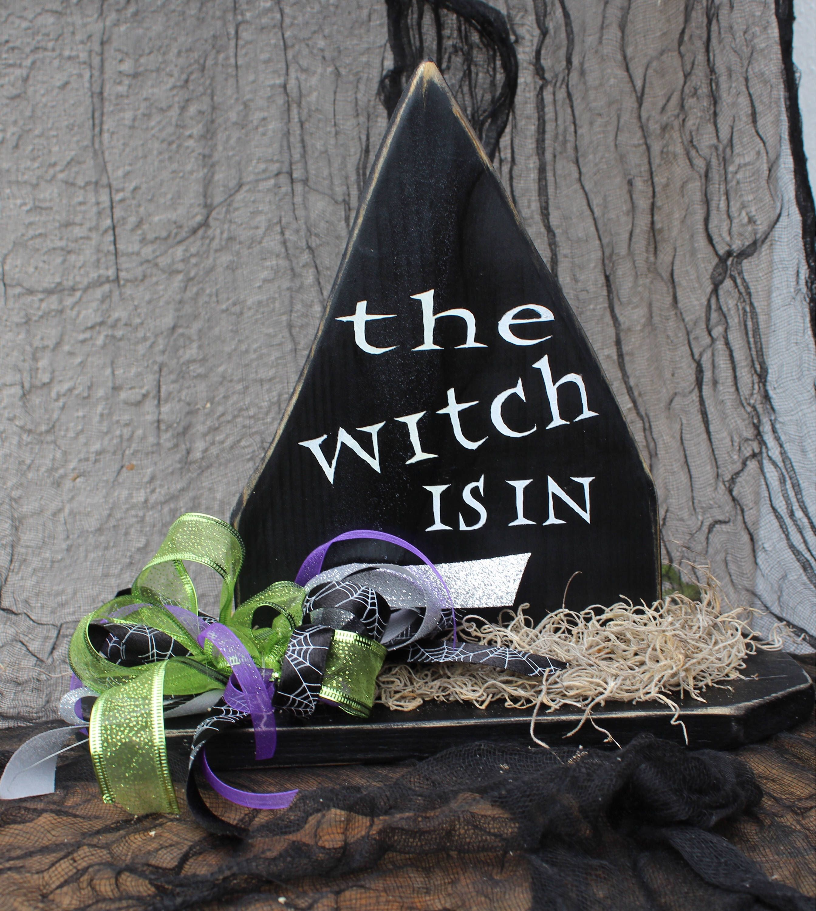 halloween decorations wood witch decorations wooden witch hat httpswww etsy - Etsy Halloween Decorations