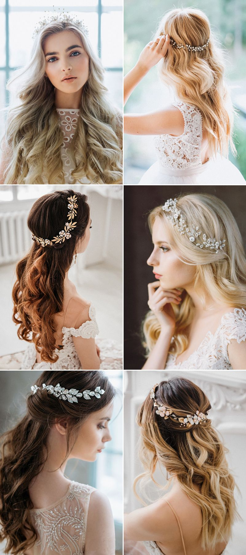 How To Wear Your Hair Down For Your Wedding 30 Chic Hair Accessories To Style Free Flowing Long Hair Bridal Hair Headpiece Bridal Hair Down Down Hairstyles