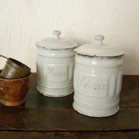 Two Vintage French Country Enamel Canisters. Kitchen ...