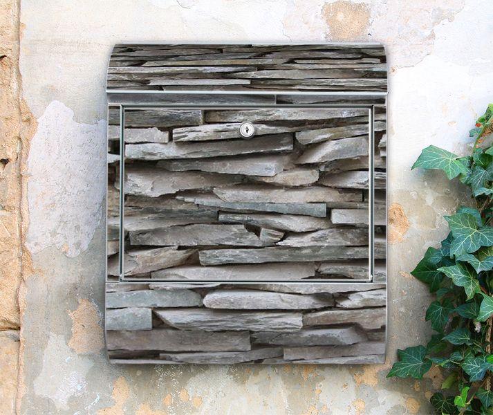 Briefkasten Postkasten Motivbox Mauer Steinwand von banjado via - steinwand farbe