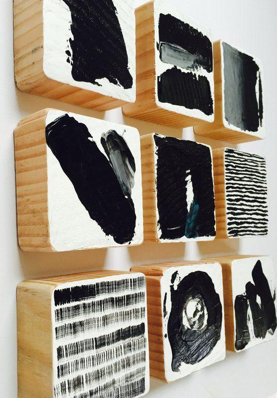 Die Manhattan Kollektion   Original bemalt Holz Block Wandkunst   Abstrakte Malerei moderne Wandskulptur   Kommerzielle Kunstinstallation