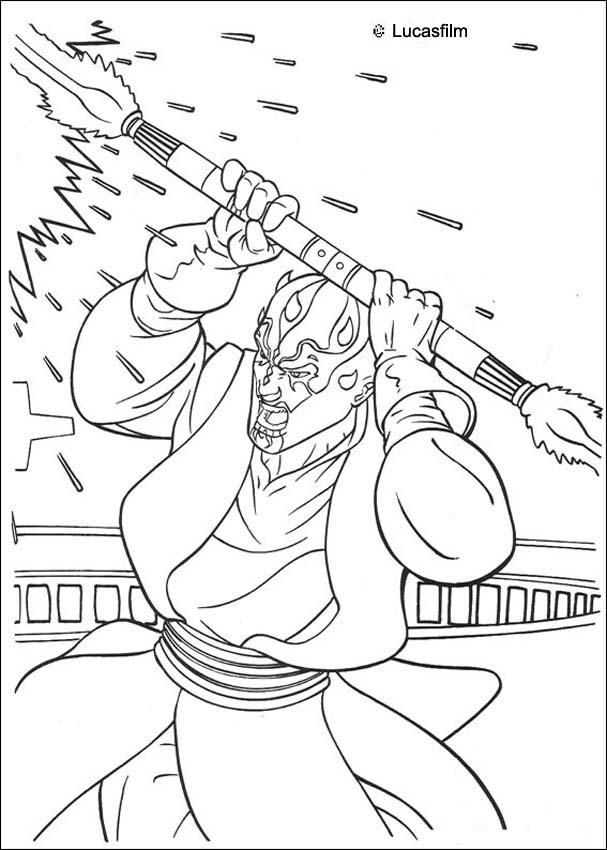 Darth Maul with a laser sword coloring page. More Star ...
