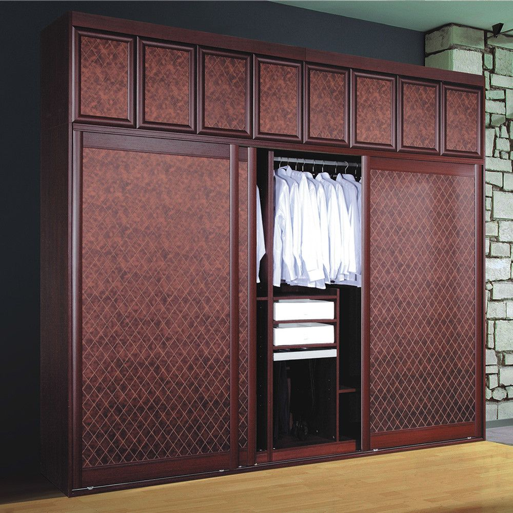 modern badroom sliding door wooden clothes almirah designs with mirror