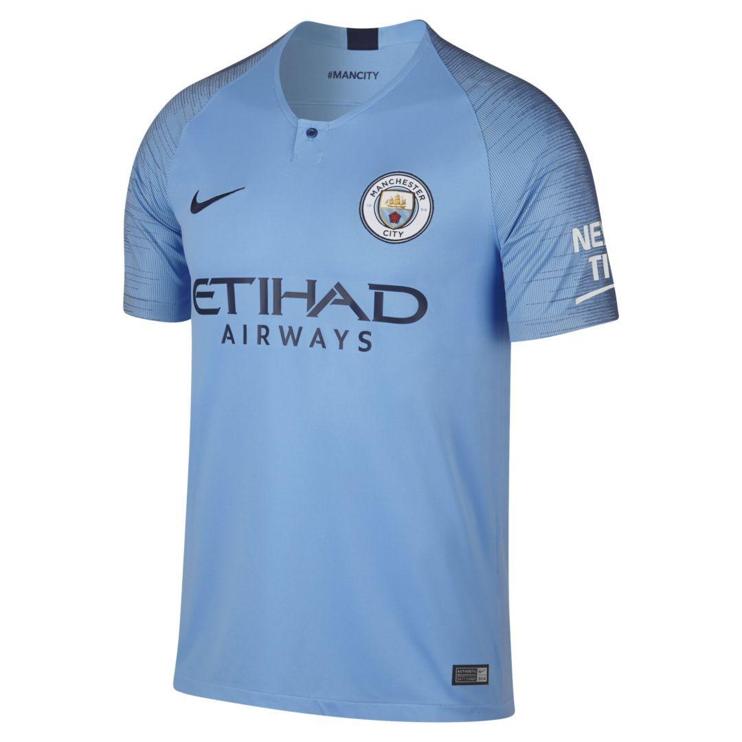 4cf656e93 2018 19 Manchester City FC Stadium Home Men s Soccer Jersey Size XL (Field  Blue)