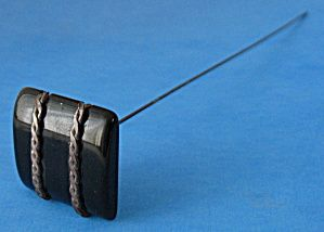 Hatpin Long Black Bakelite Chain Decorated Square Uk With Images Hats Vintage Hat Pins Hats For Women