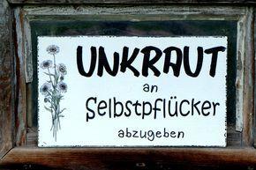 Tür- & Namensschilder – Shabby Vintage Schild GARTEN 9 UNKRAUT HOLZ – ein Desig…