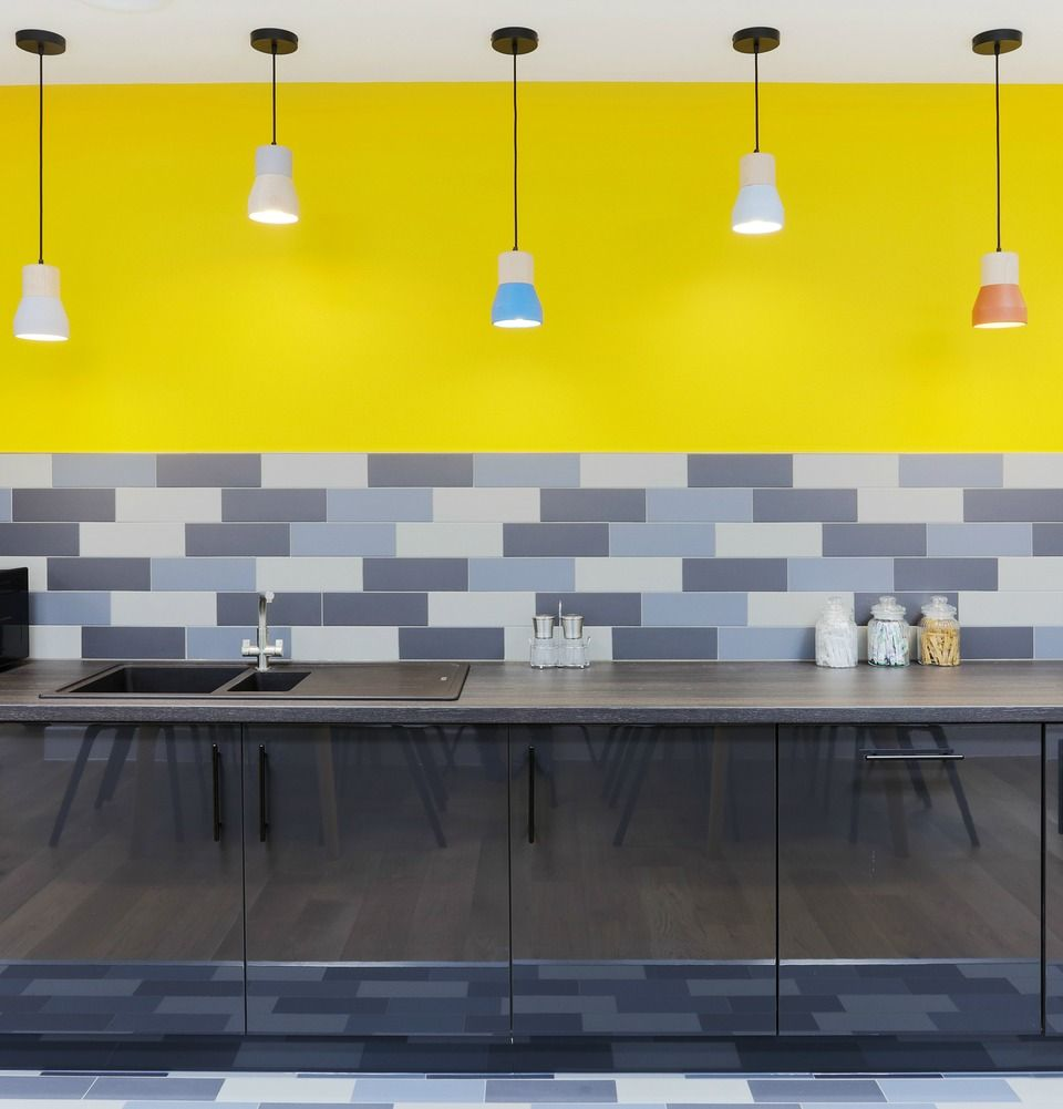 office kitchen ideas. Funky Office Kitchen \u003e\u003e Interior Design Ideas This Simple Has A And Cool With Bright Yellow Walls Multi-coloured Pendant