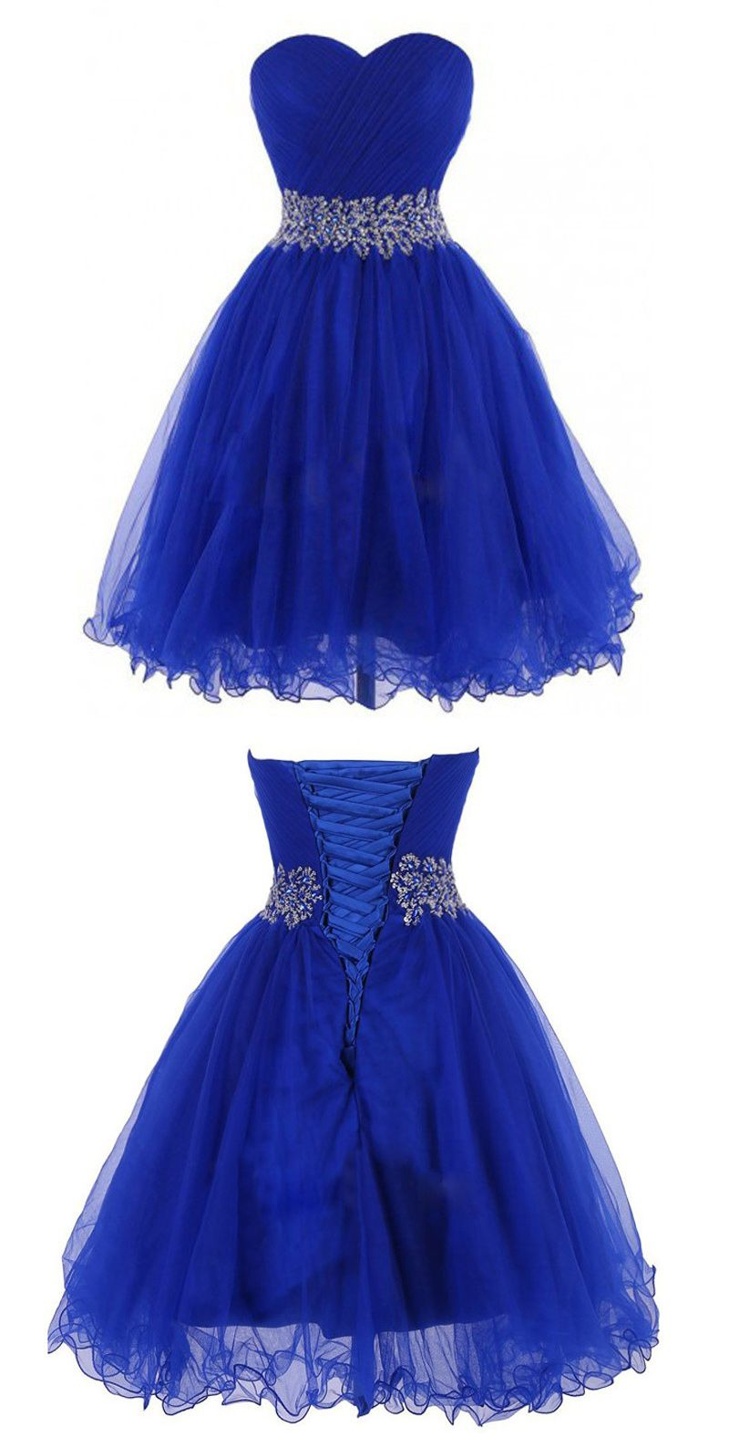 Cheap short sweetheart kneelength royal blue homecoing dress with