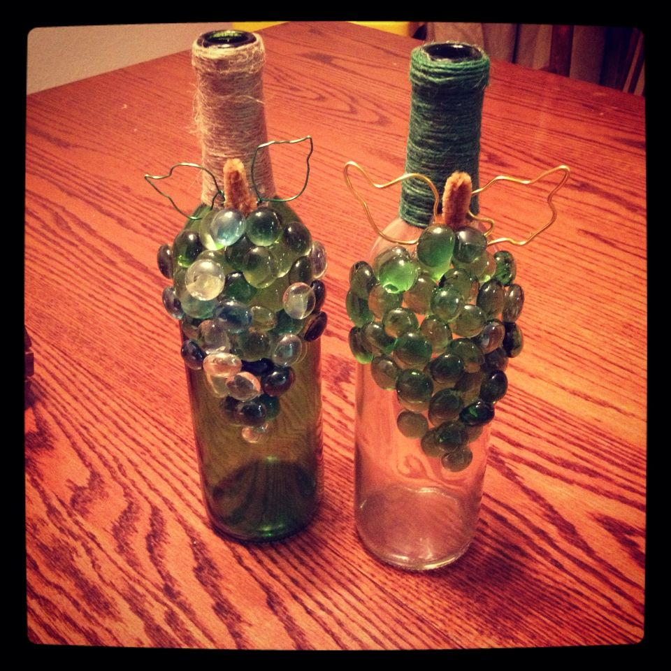 Diy Gifts Made From Recycled Wine Bottles Twine Glass Beads And Wire Handmade By Pobx Designs Recycled Wine Bottles Bottles Decoration Beads And Wire