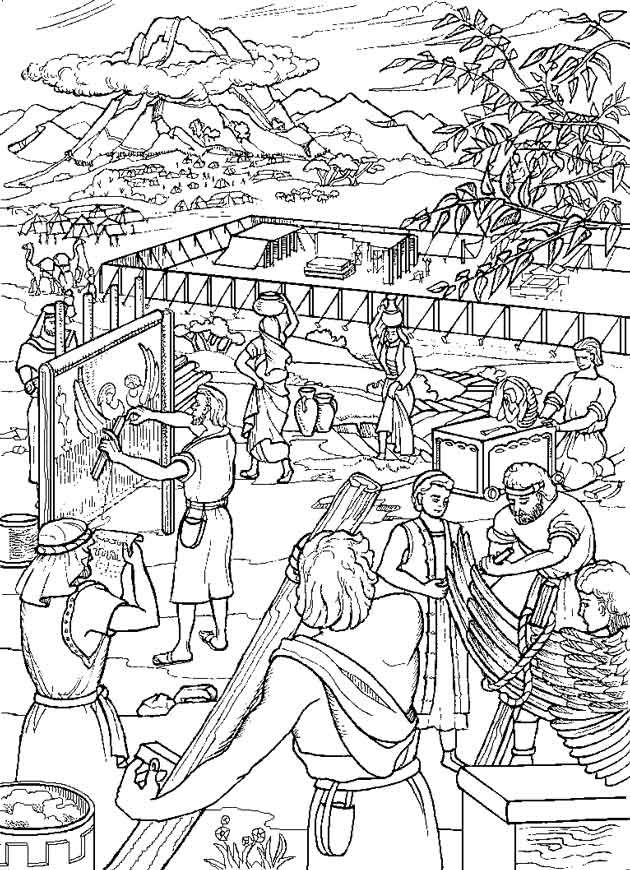 Coloring constructing the tabernacle children 39 s church for Tabernacle coloring pages free