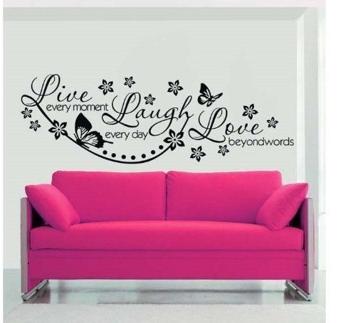 Olivia DIY Wall Decals Quotes with Butterflies Flowers Live Every ...