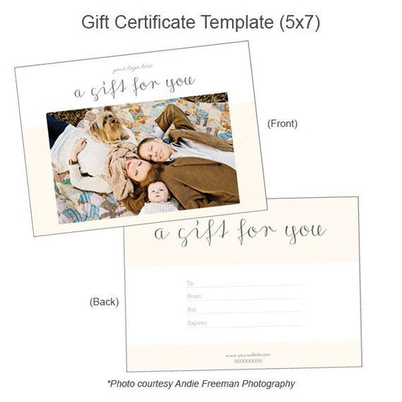Photography Gift Certificate Template Customizable 5x7 Gift