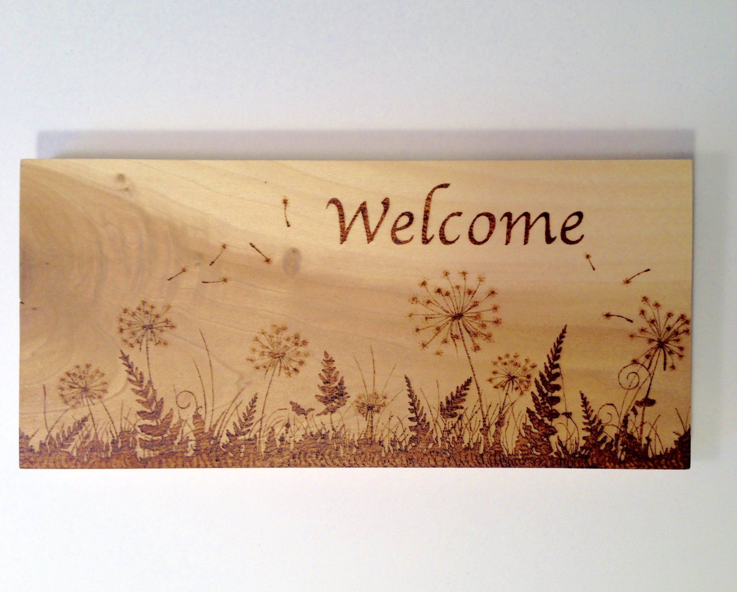 Welcome wood burned sign - dandelions silhouette - pyrography #burnedwoodstenciling