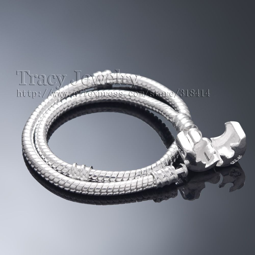 24 Hours Dispatch! 925 Silver 3MM Snake Chain Fit European Beads Charms Pandora  Bracelets (
