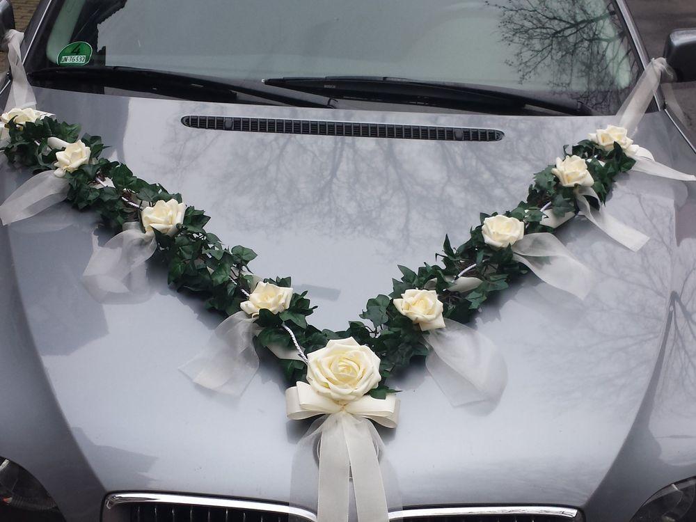 Autoschmuck Autogirlande 2m aus Efeu Hochzeit Rosen creme