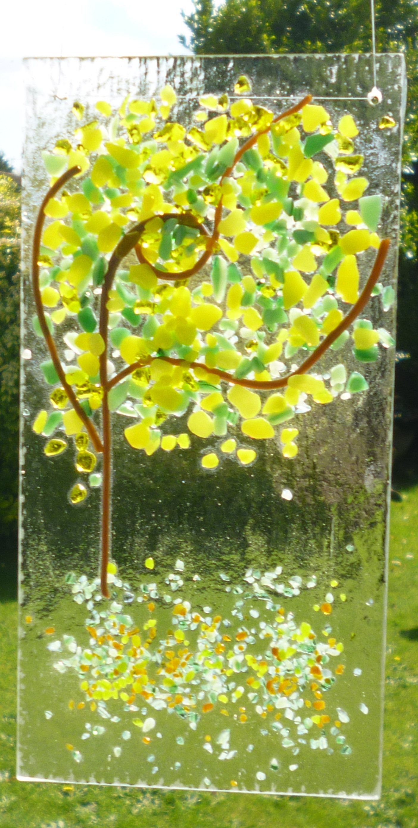 Yellow and GreenTree Fused Glass Suncatcher. Yellow and Green Tree ...