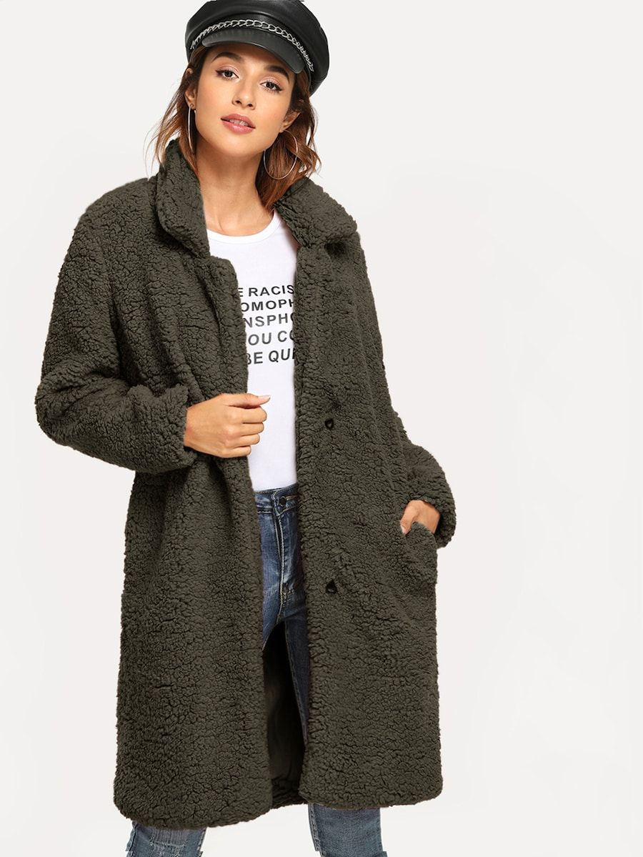 52277c56976 Shawl Collar Solid Teddy Coat -SheIn(Sheinside)