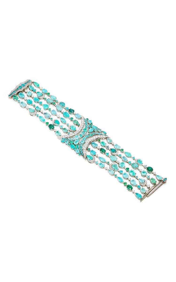 Zanzibar paraiba tourmaline bracelet by vanleles diamonds jewelry