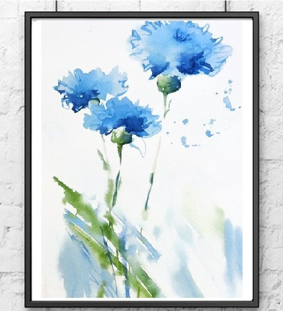 Cornflower Art Print Watercolor PaintingBlue by NancyKnightArt
