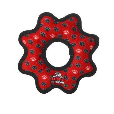 VIP Tuffys Ultimate Gear Ring Tug Dog Toy Red Paw