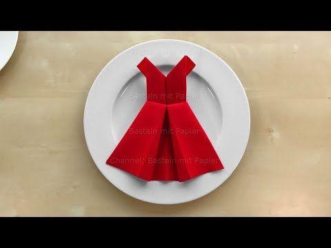 Servietten Falten Kleid Einfache Tischdeko Basteln Mit