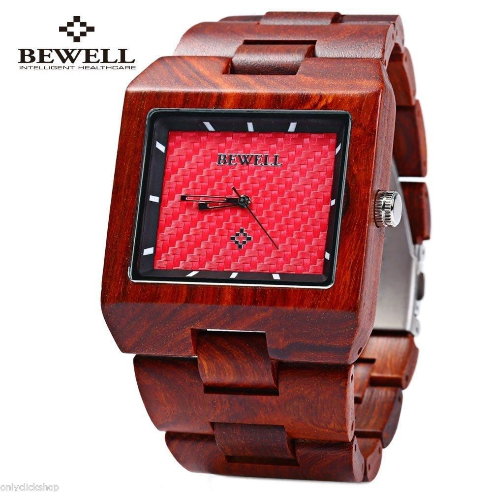Bewell ZS-W016A Men Quartz Wrist Watch Wood Rectangle Dial Analog Fashion GIft