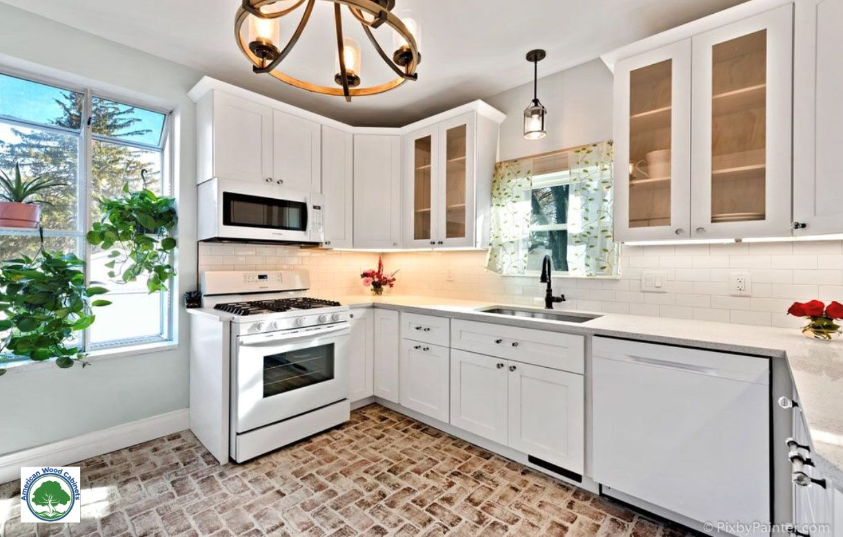White Shaker Style American Wood Cabinets Kitchen Cabinets And Countertops Kitchen Cabinets Kitchens Direct
