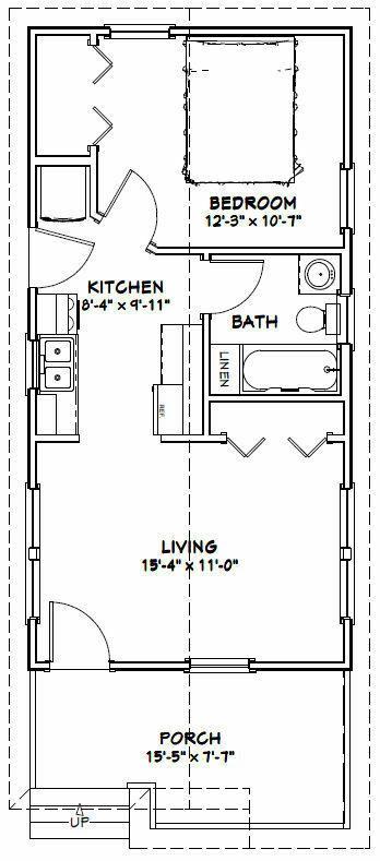 16x32 Tiny House 511 sq ft PDF Floor Plan Model 1N