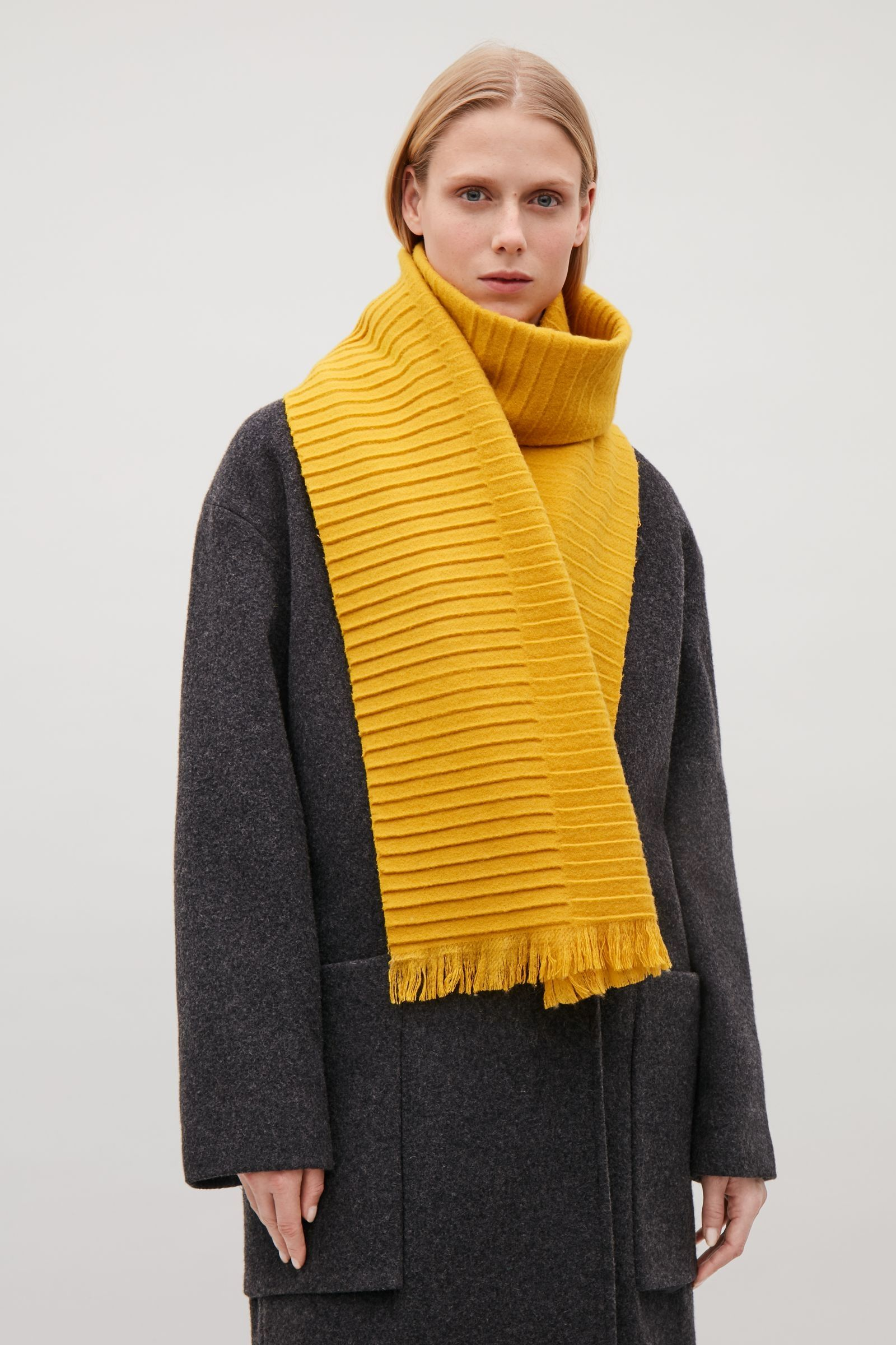 0e4d027c55eff6 COS image 3 of Pleated wool scarf in Yellow | Nice Accessories ...