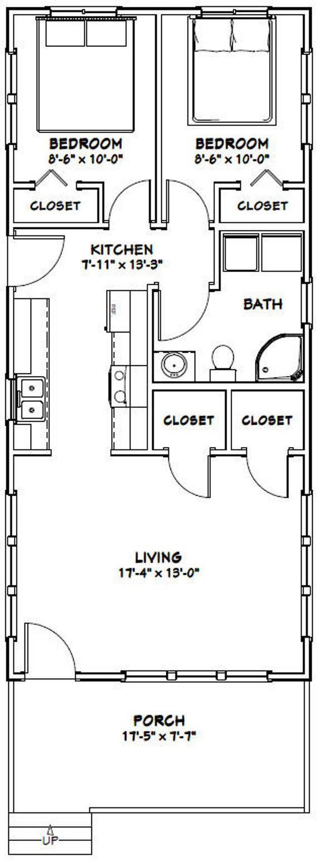 18×40 House — 2-Bedroom 1-Bath — 720 sq ft — PDF Floor Plan — Instant Download — Model 4E