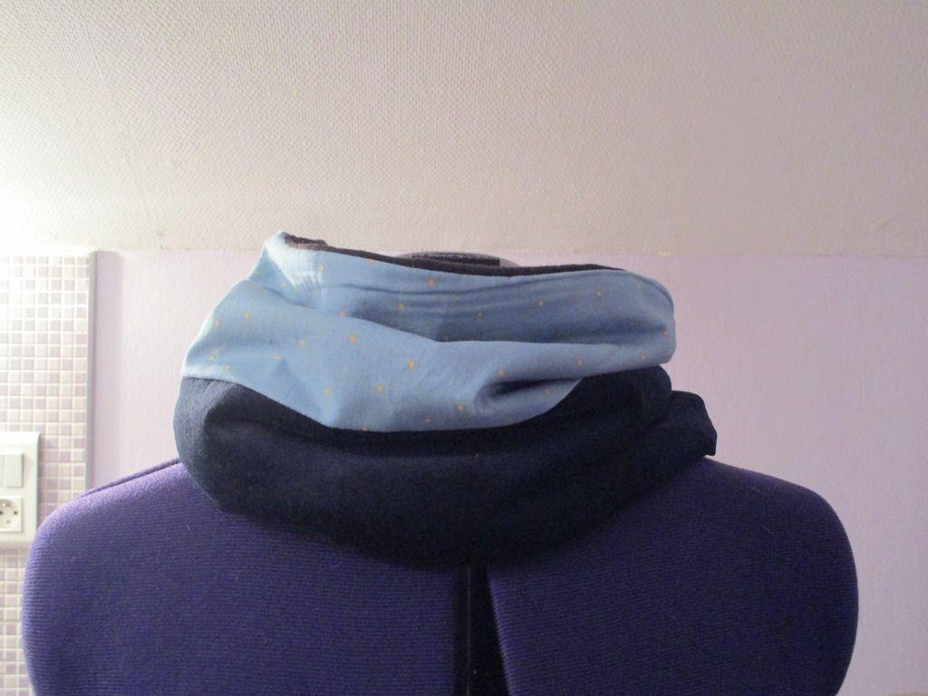 snood tour de cou simple ados femme en tissu et polaire tons bleu : Echarpe…