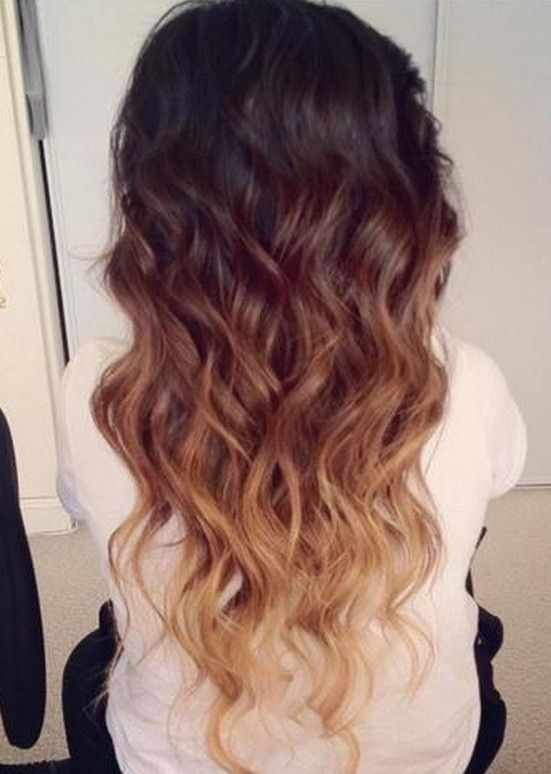 Ombre Hair Color Idea Brown To Golden Blonde Wavy Dip Dye Cascade