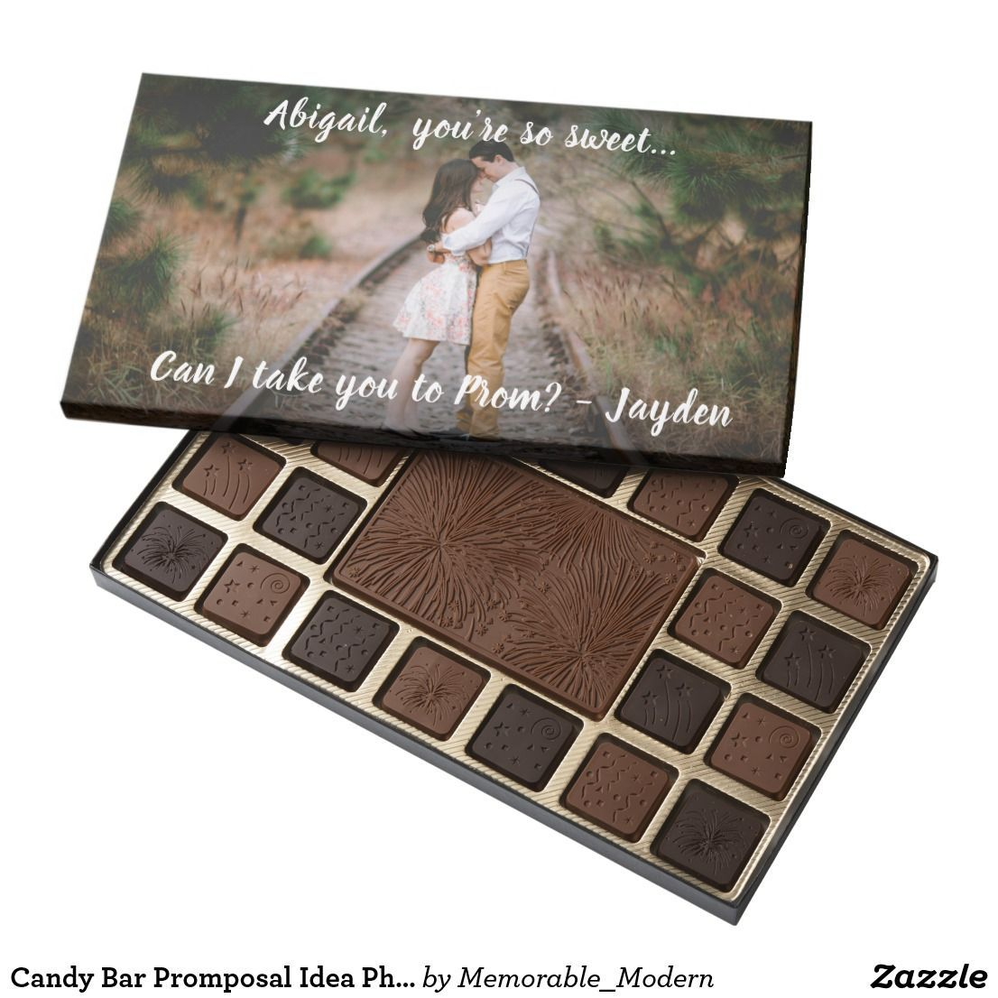 1 Photo Prom or HOCO Proposal Candy Promposal Idea 45 Piece Box Of Chocolates | Zazzle.com #hocoproposalsideas Promposal Box Of Chocolates - Ask a girl or boy to prom in style with this sweet personalized photo promposal chocolate candy bar box. Design features a modern calligraphy script typography, customized message,  & picture of your choice. All the text is also simple to customize, so it can easily be used for any dance, such as homecoming, winter formal, etc. A cute alternative to a promp #hocoproposalsideas