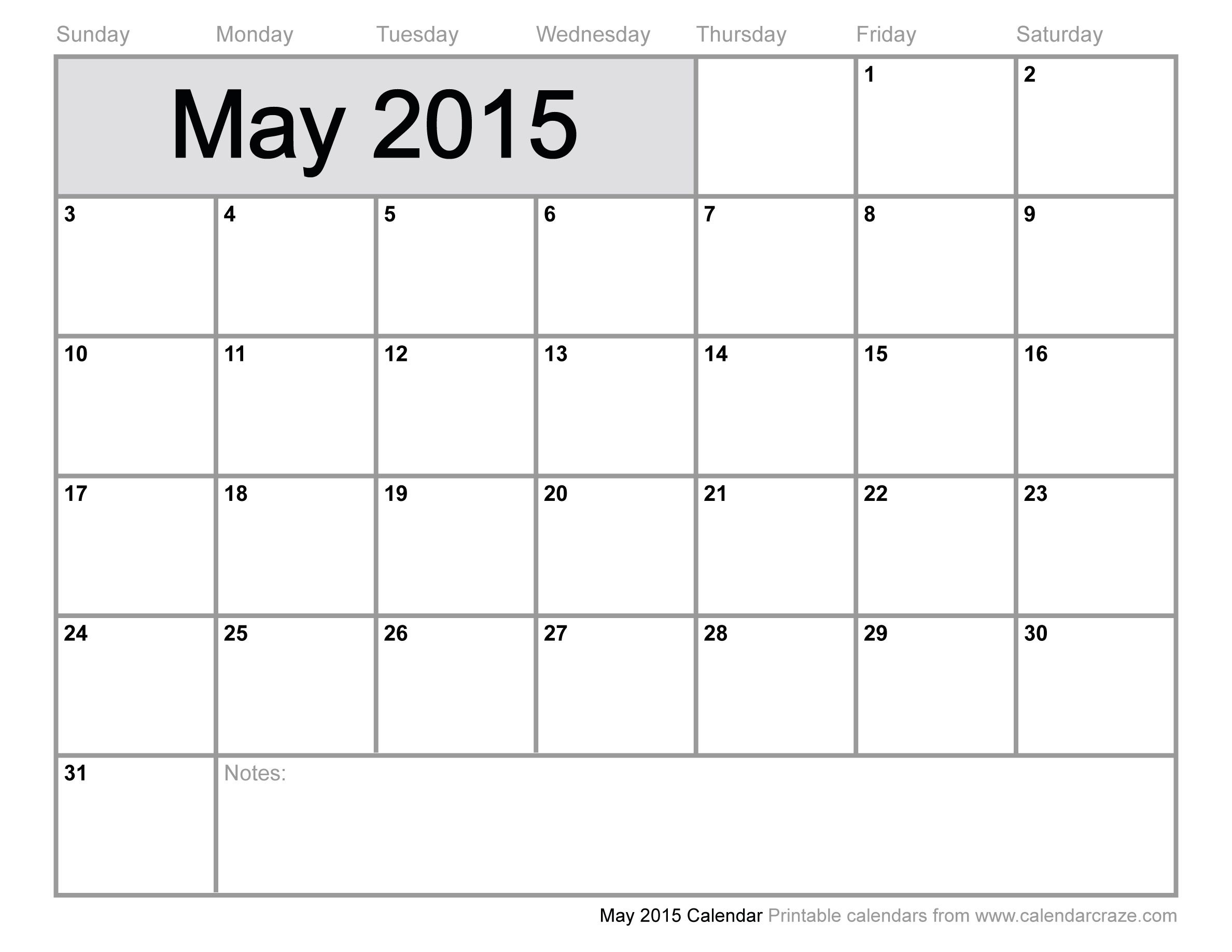 May Calendar 2015 Template