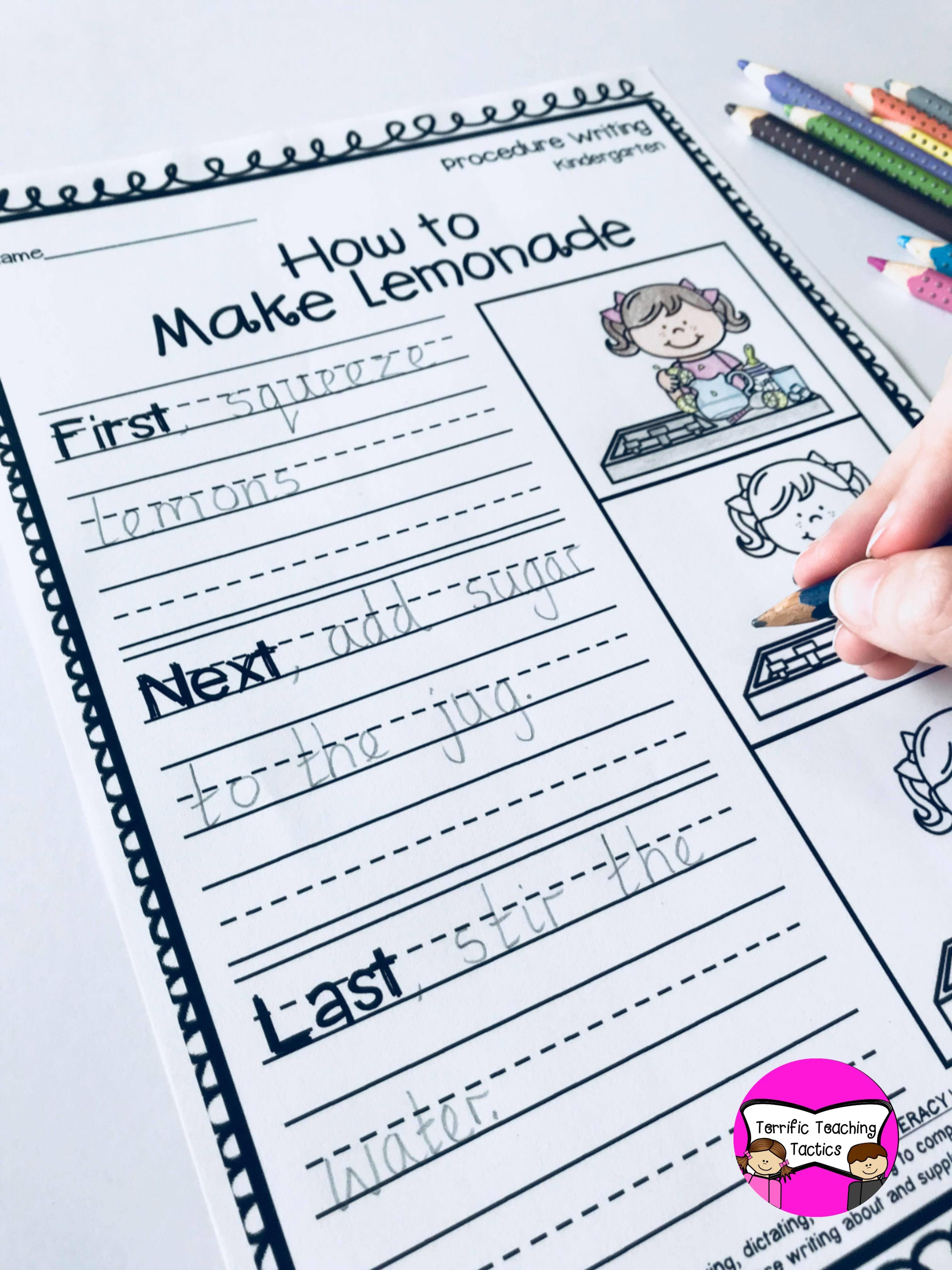 Kindergarten Procedure Writing Prompts Worksheets